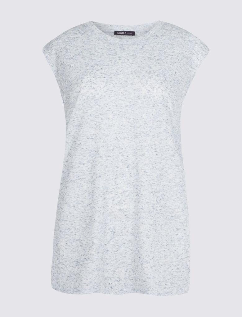 Kadın Mavi Yuvarlak Yaka Keten Karışımlı T-Shirt