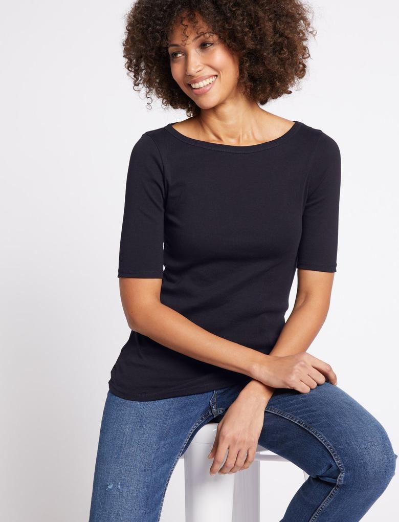 Siyah Saf Pamuklu Kısa Kollu Yuvarlak Yaka T-Shirt