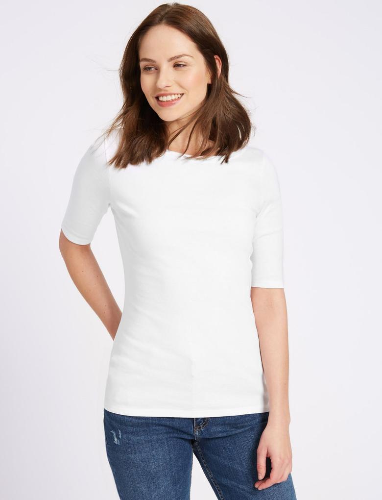Kadın Beyaz Saf Pamuklu Kısa Kollu Yuvarlak Yaka T-Shirt