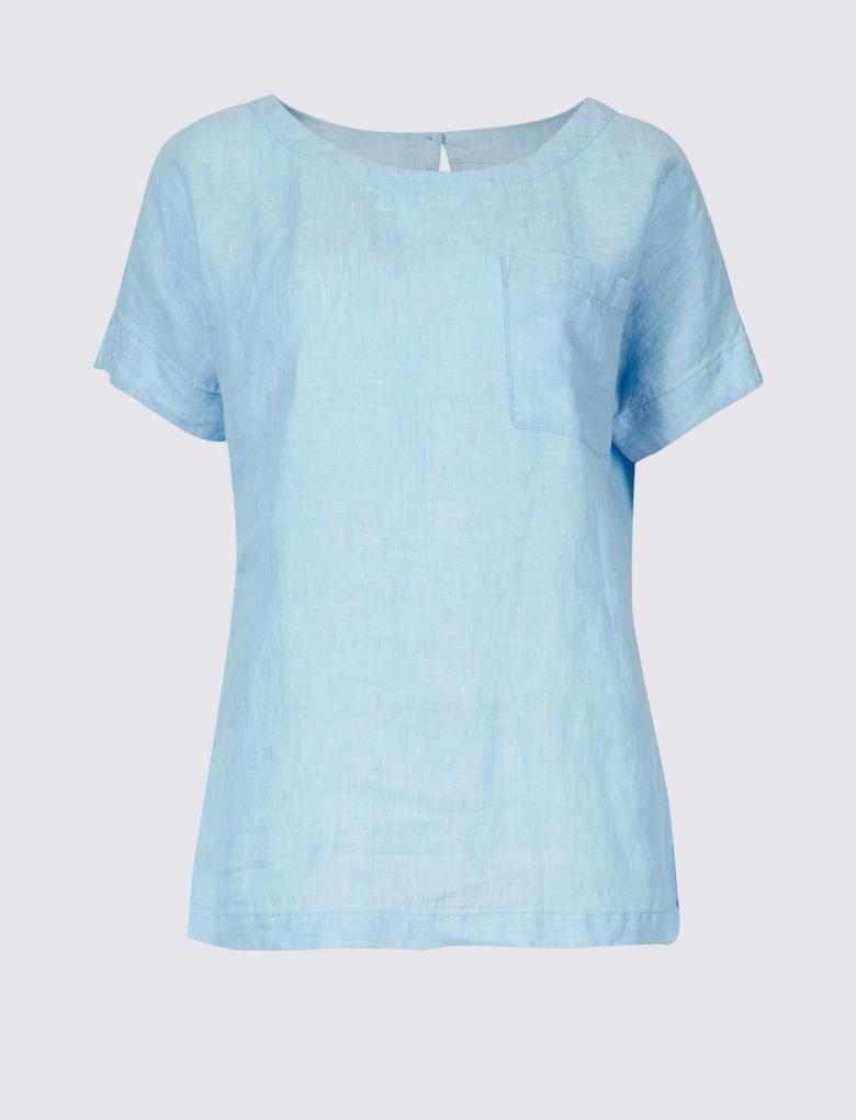Mavi Saf Keten Yuvarlak Yaka Kısa Kollu Bluz