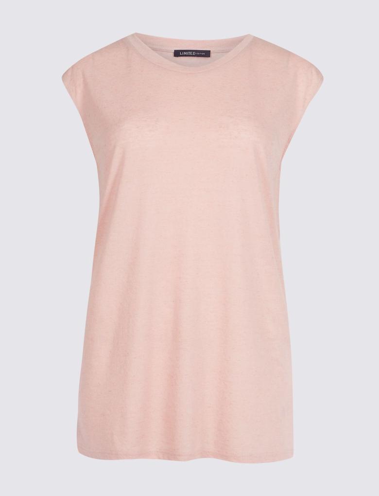 Pembe Yuvarlak Yaka Keten Karışımlı T-Shirt