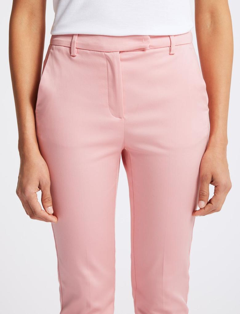 Kadın Pembe Pamuklu Slim Leg 7/8 Pantolon