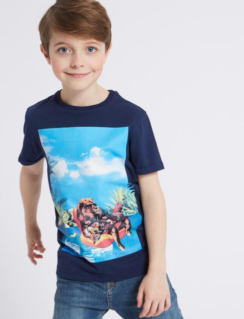 Siyah Saf Pamuklu T-Shirt