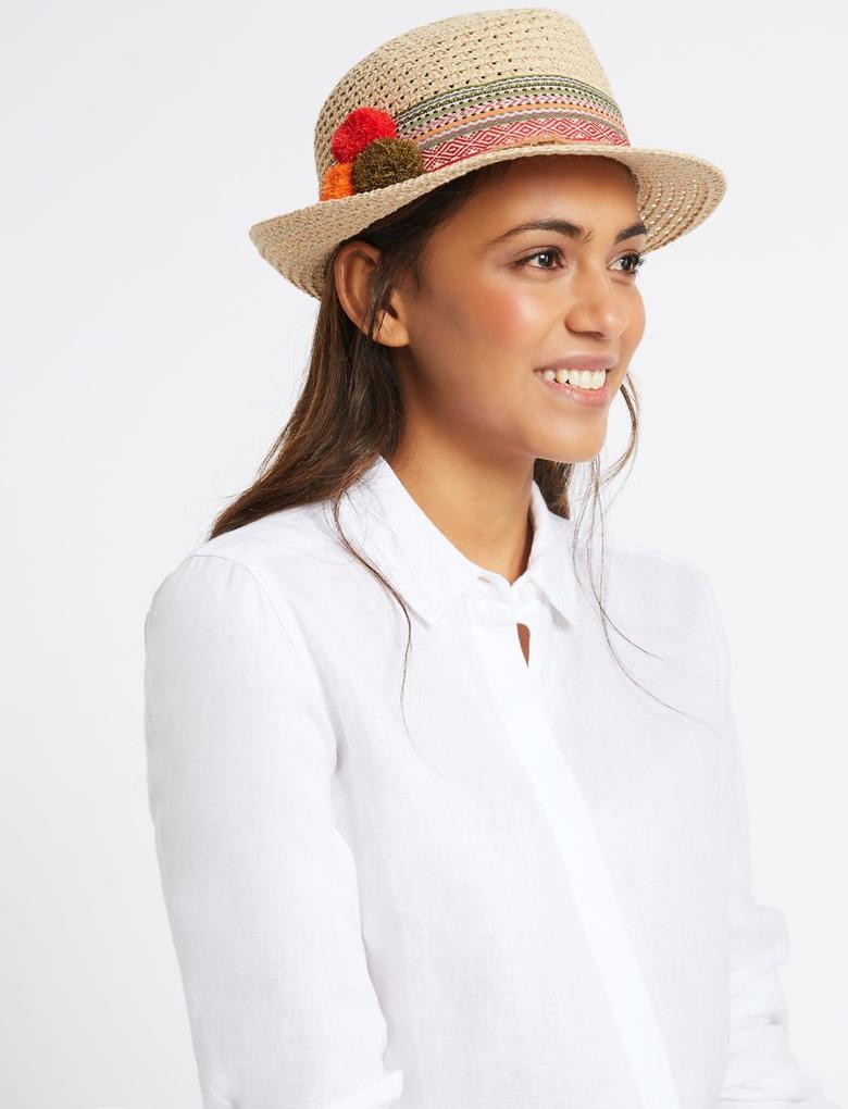 Multi Renk Hasır Şapka