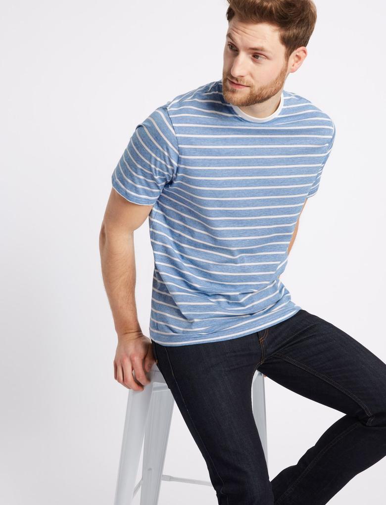 Beyaz Saf Pamuklu Çizgili Sıfır Yaka T-Shirt