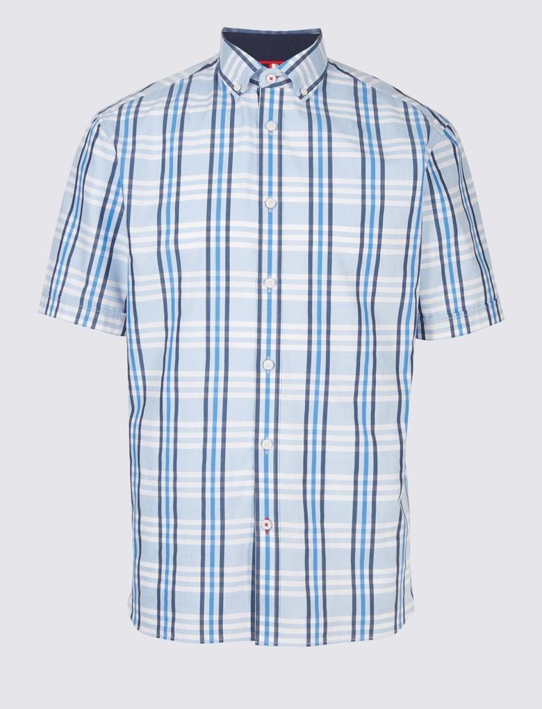 Saf Pamuklu Ekose Oxford Gömlek