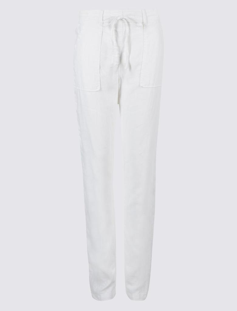 Kadın Beyaz Keten Karışımlı Pantolon