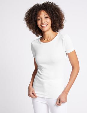 Beyaz Saf Pamuklu Yuvarlak Yaka Kısa Kollu T-Shirt