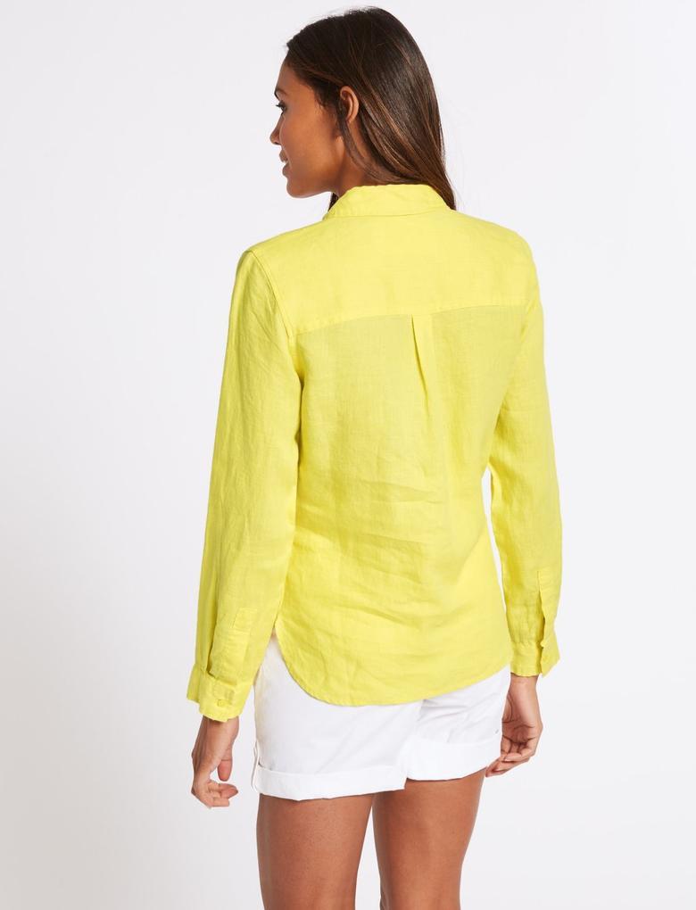 Sarı Saf Keten Uzun Kollu Gömlek