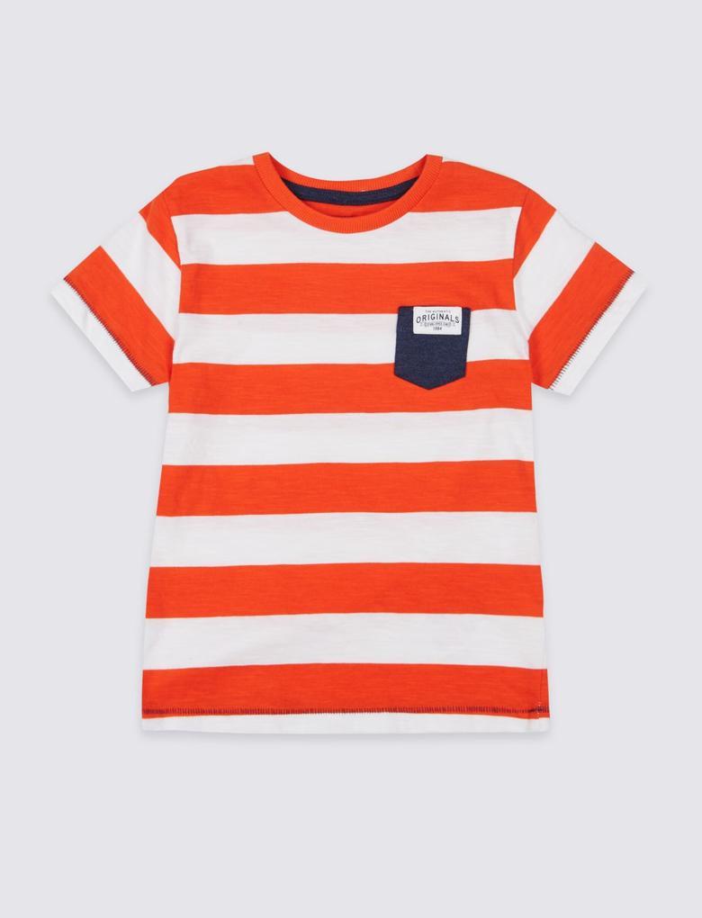 Kırmızı Saf Pamuklu Çizgili T-Shirt