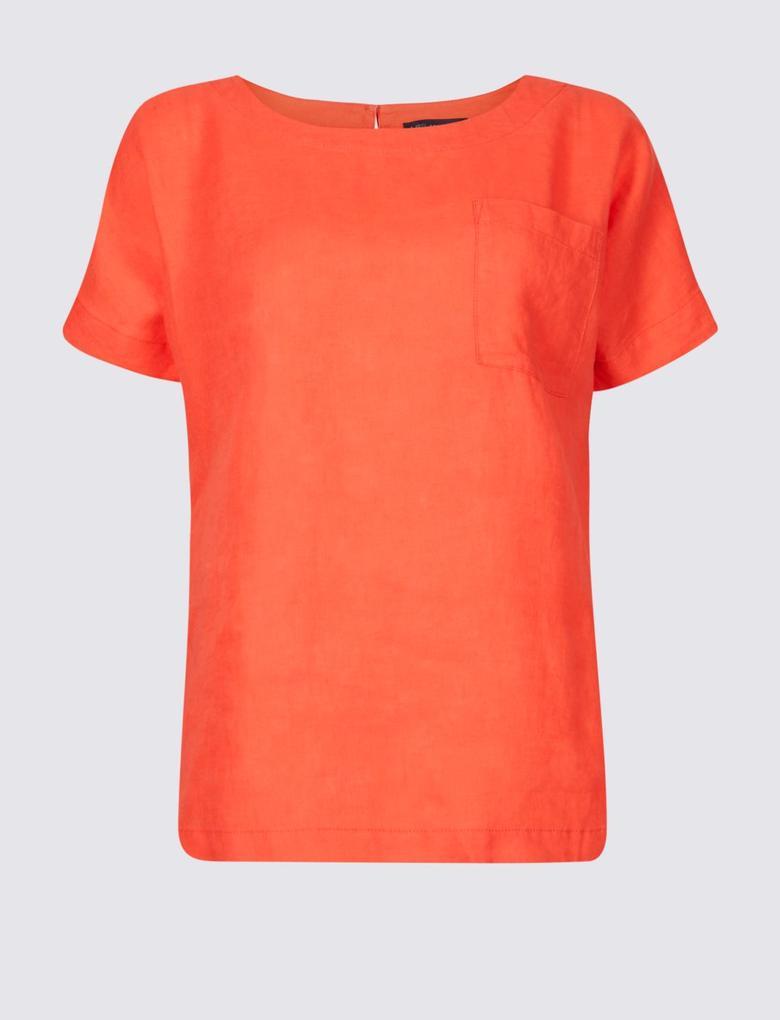 Kadın Kırmızı Saf Keten Yuvarlak Yaka Kısa Kollu Bluz