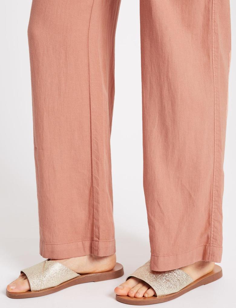Keten Wide Leg Pantolon