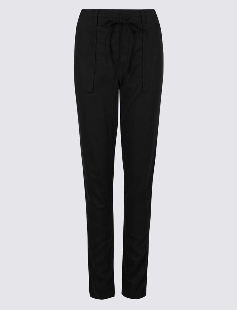 Siyah Keten Karışımlı Pantolon