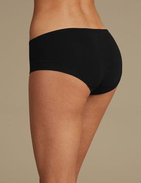 Kadın Siyah Modal Karışımlı Flexifit™ Düşük Belli Short Külot
