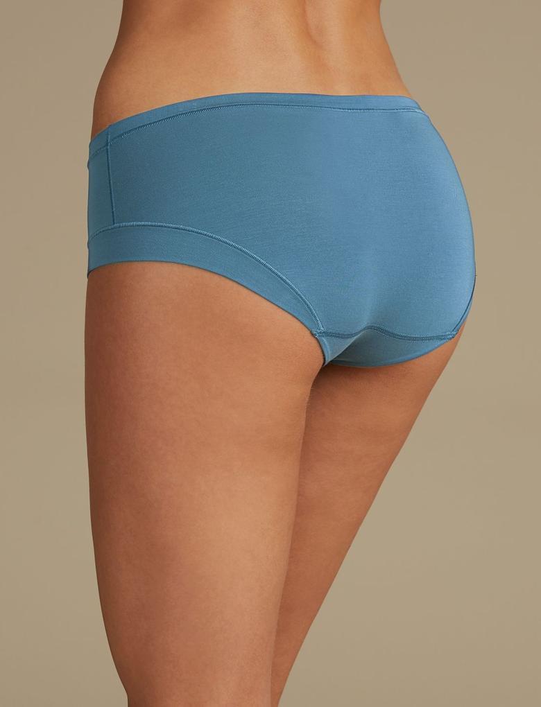 Mavi Modal Karışımlı Flexifit™ Düşük Belli Short Külot