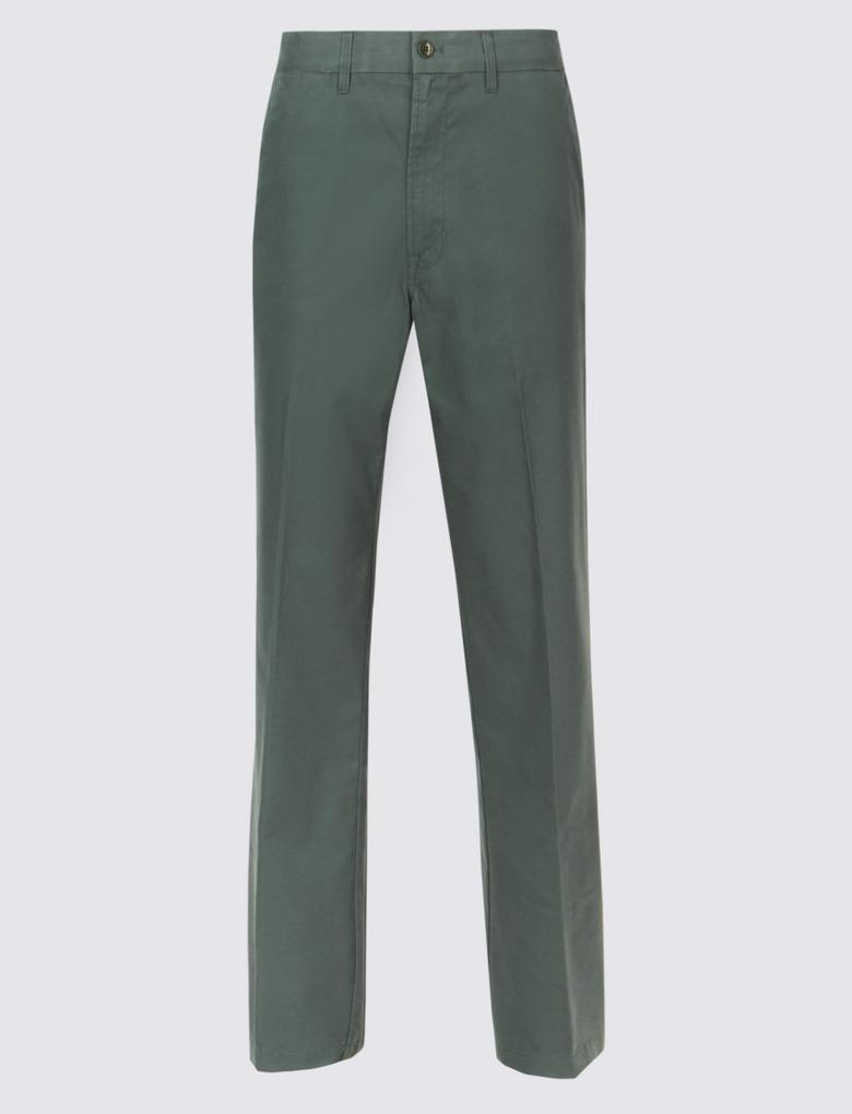 Erkek Yeşil Regular Fit Pamuklu Chino Pantolon