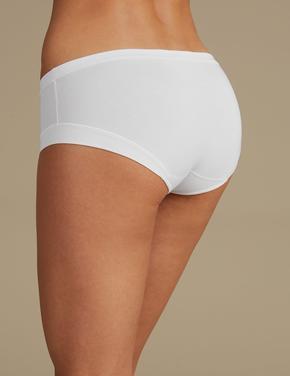 Kadın Beyaz Modal Karışımlı Flexifit™ Düşük Belli Short Külot
