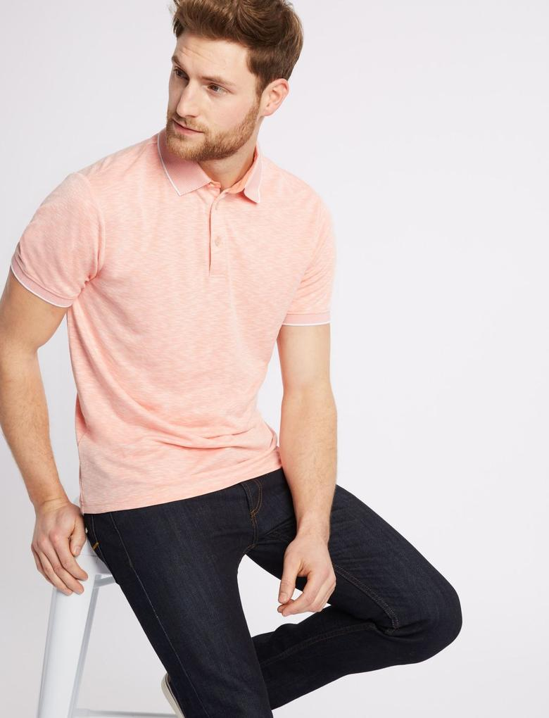Turuncu Modal Karışımlı Polo Yaka T-Shirt