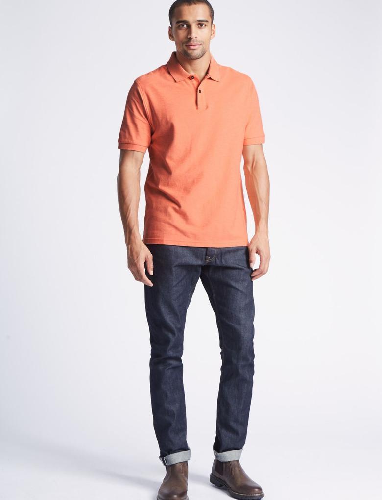 Bej Saf Pamuklu Polo Yaka T-Shirt