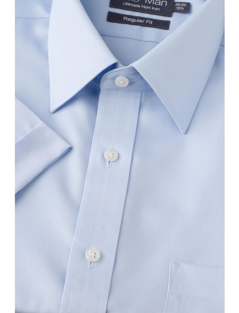 Mavi Kısa Kollu Ütü Gerektirmeyen Regular Gömlek