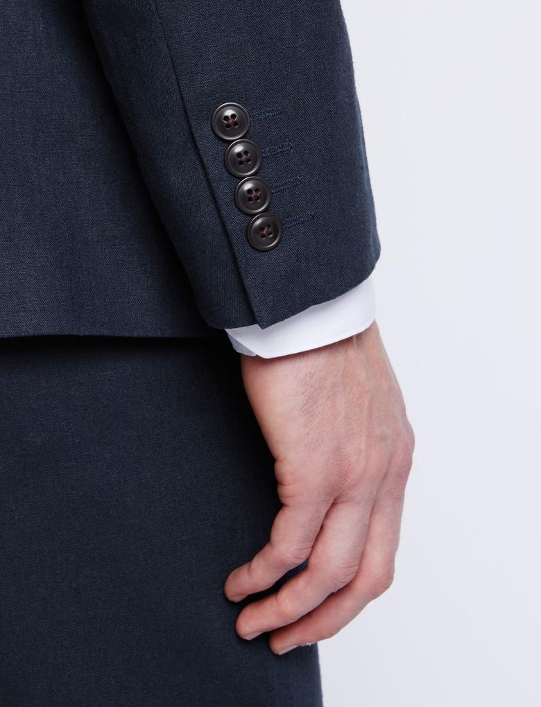 Lacivert Keten Karışımlı Regular Fit Ceket