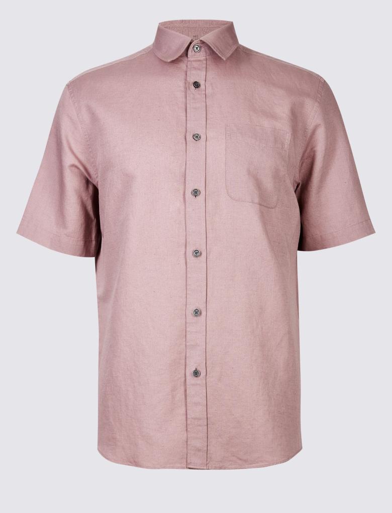 Pembe Keten Karışımlı Gömlek
