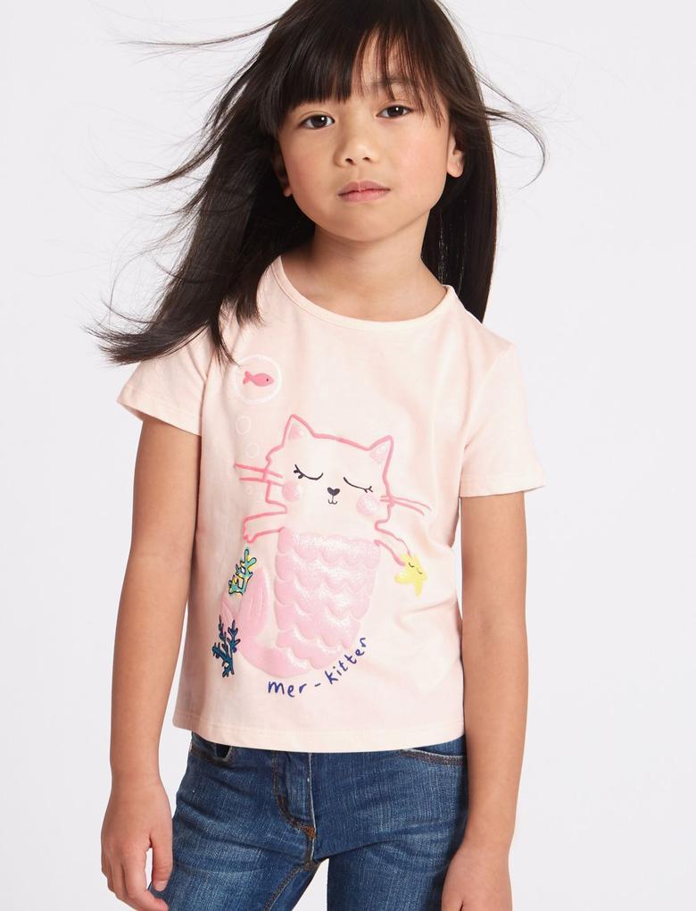 Pembe Saf Pamuklu Desenli T-Shirt (StayNew™ Teknolojisi ile)