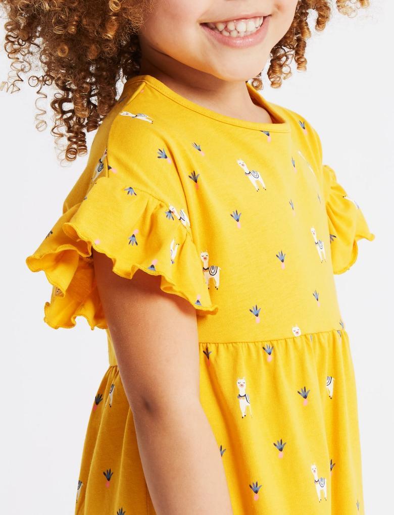 Sarı Saf Pamuklu Elbise