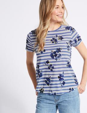Çiçek Desenli Çizgili Kısa Kollu T-Shirt