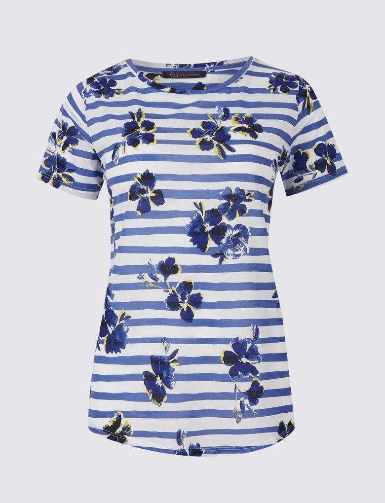 Mavi Çiçek Desenli Çizgili Kısa Kollu T-Shirt
