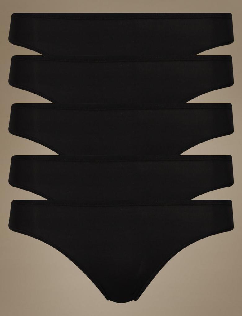 Siyah 5'li İz Bırakmayan Mikrofiber Düş Bel Bikini Külot