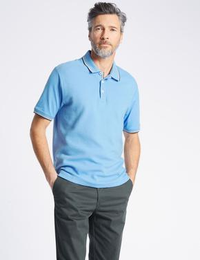 Saf Pamuklu Regular Fit Polo Yaka T-Shirt