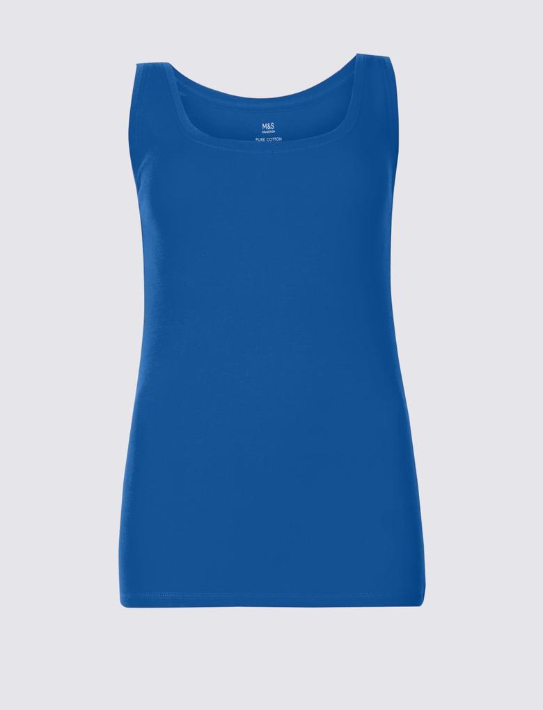 Mavi Saf Pamuklu Yuvarlak Yaka Atlet