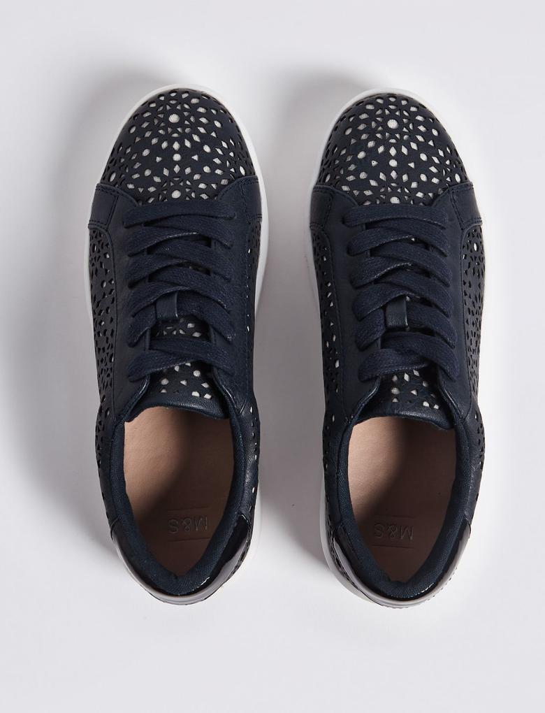 Lacivert Bağcıklı Spor Ayakkabı