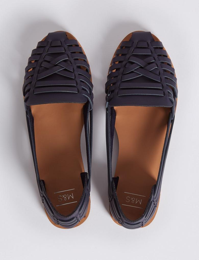 Lacivert Düz Tabanlı Açık Ayakkabı