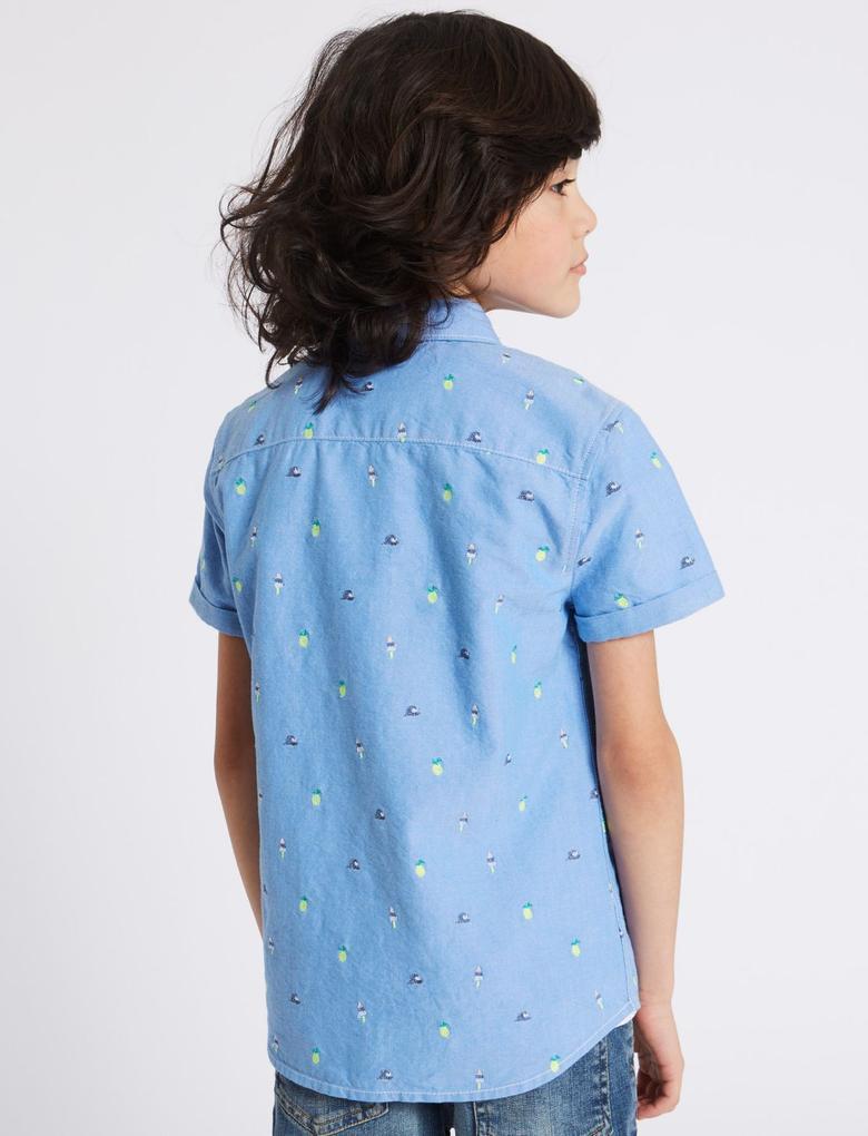 Saf Pamuklu İşlemeli Gömlek