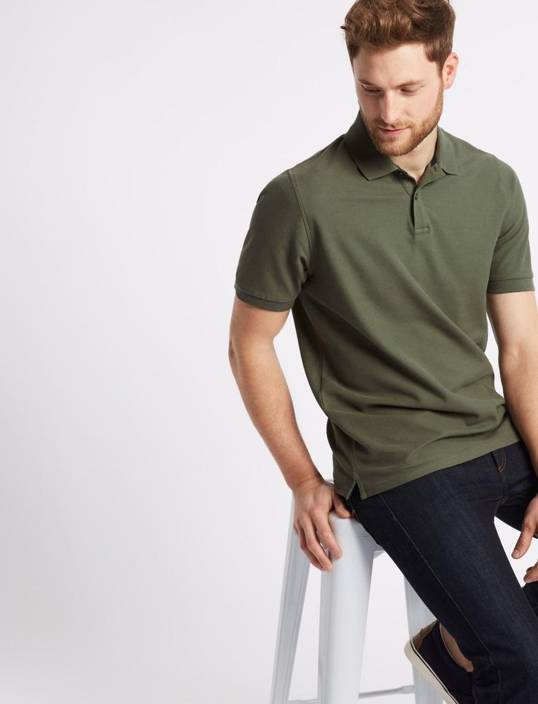 Yeşil Saf Pamuklu Polo Yaka T-Shirt