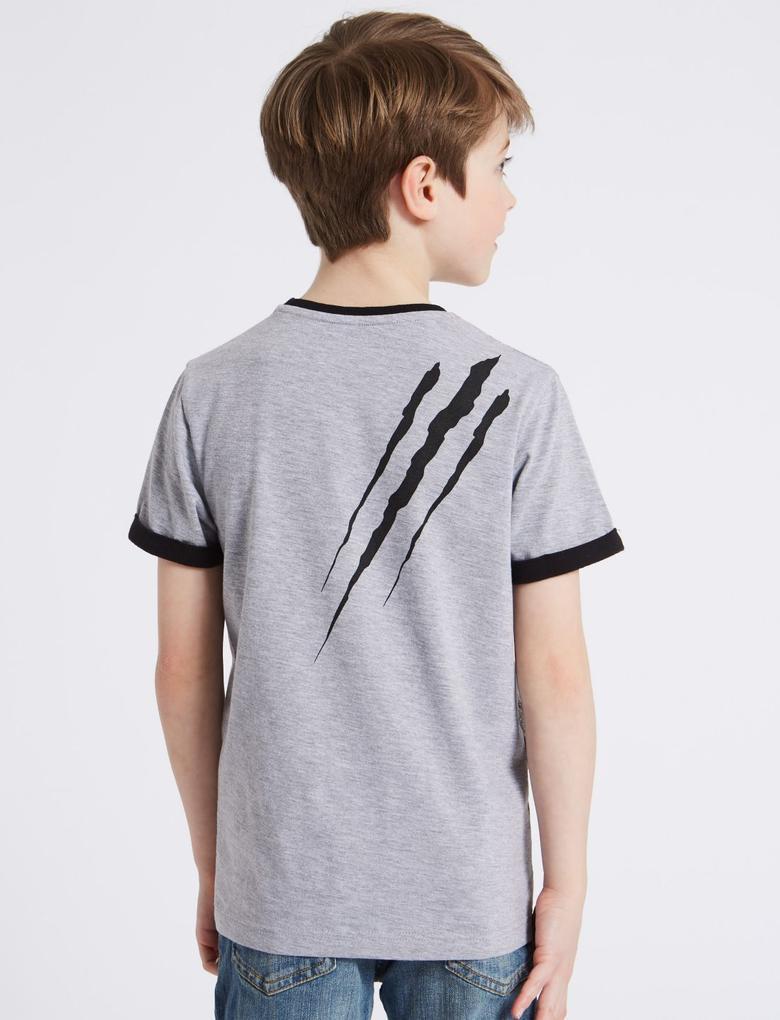 Gri Pamuklu Desenli T-Shirt