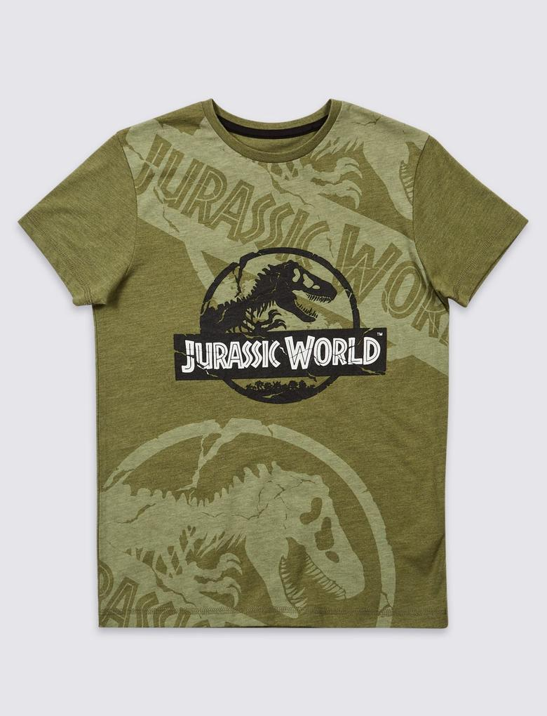 Yeşil Jurassic World Karanlıkta Parlayan Kısa Kollu T-Shirt