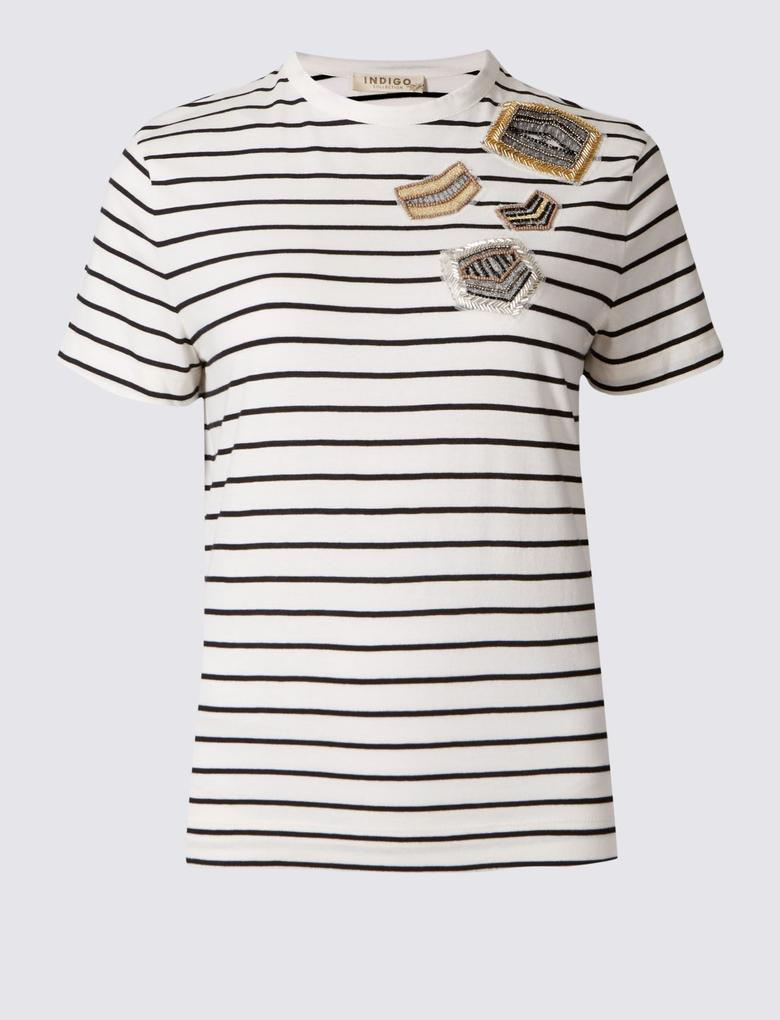 Kısa Kollu Çizgili T-Shirt