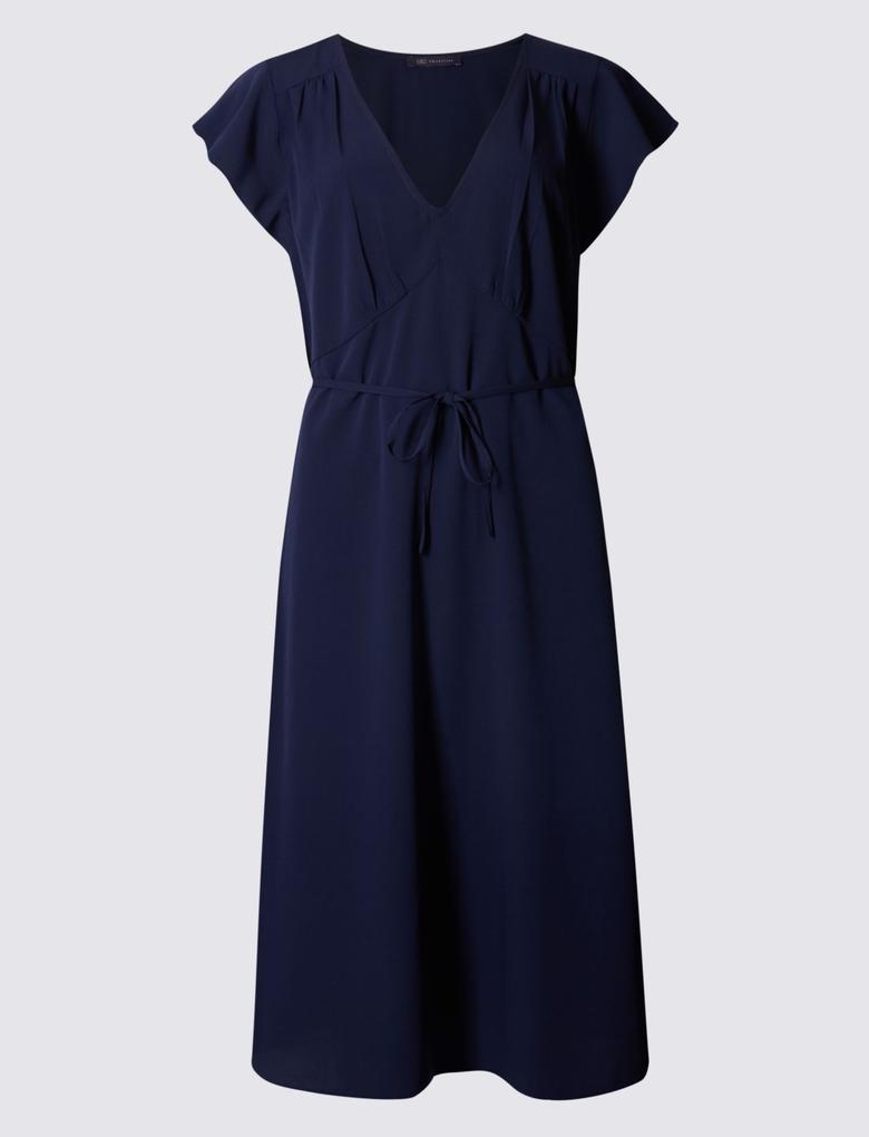 Lacivert Kısa Kollu Elbise