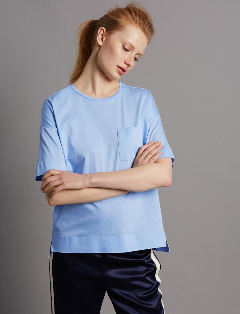 Mavi Kısa Kollu Cepli T-Shirt