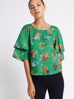 Fırfır Kollu Çiçek Desenli Bluz