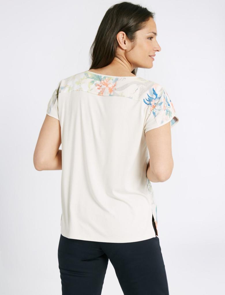 Bej Kısa Kollu Çiçek Desenli T-Shirt