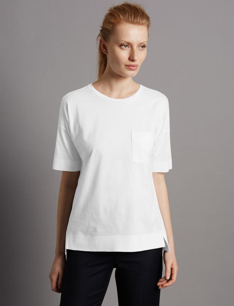 Beyaz Kısa Kollu Cepli T-Shirt