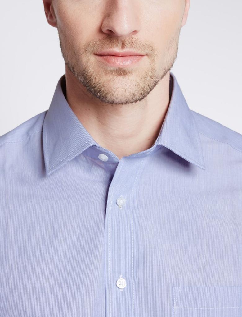 Kolay Ütülenebilir Pamuklu Regular Fit Gömlek