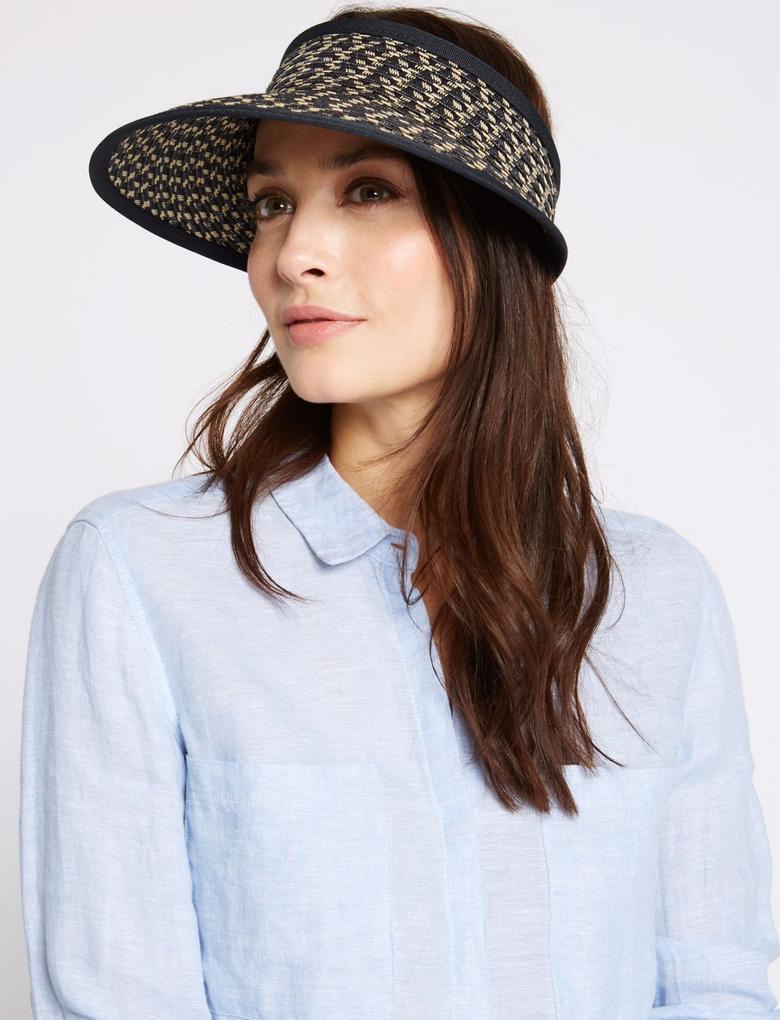 Lacivert Yarım Hasır Şapka