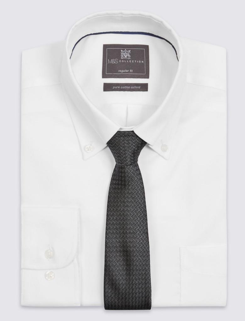 Gri Saf İpek Desenli Kravat