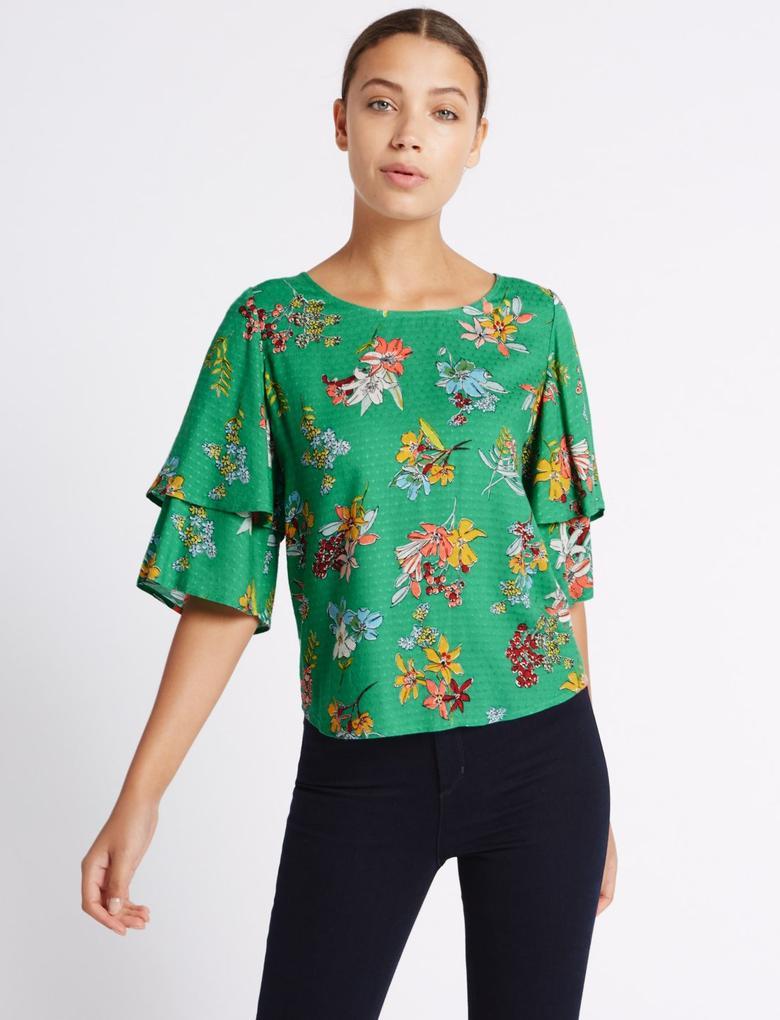 Yeşil Fırfır Kollu Çiçek Desenli Bluz