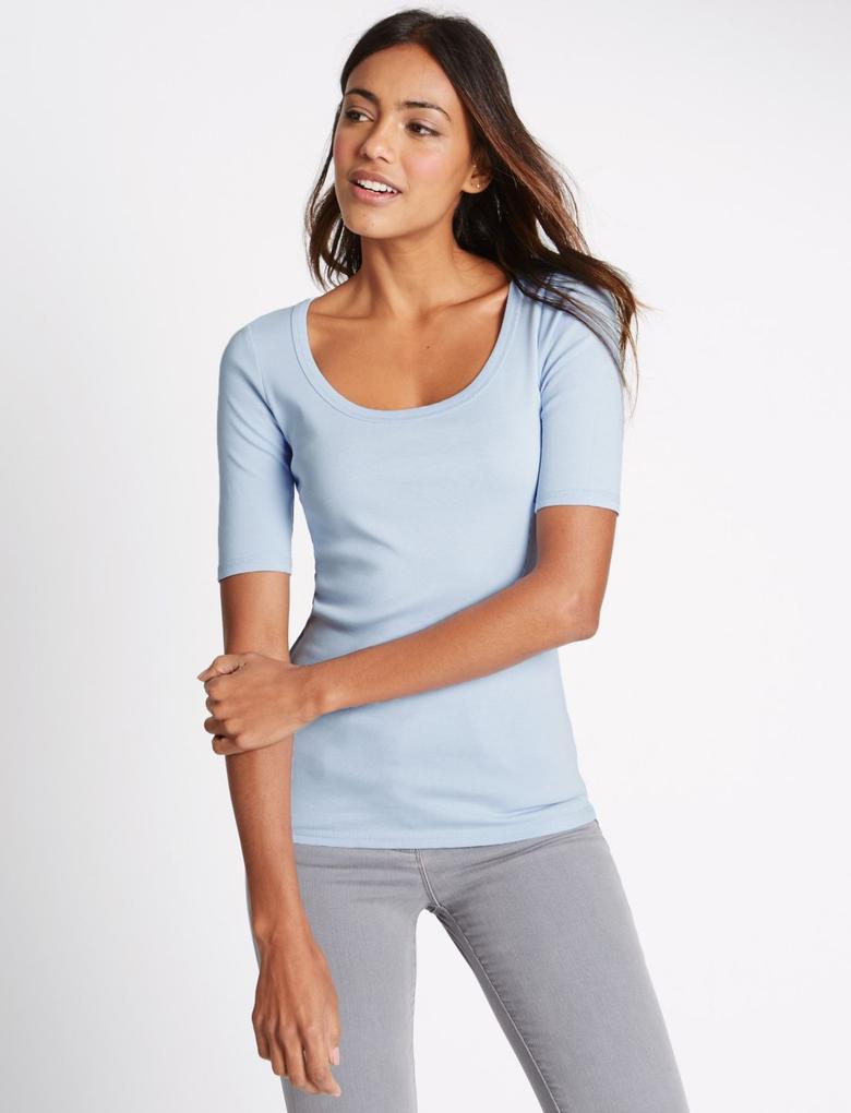 Mavi Yarım Kollu T-Shirt